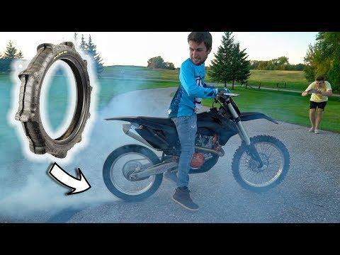 Burning off Sand Tire on Dirt Bike!!