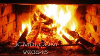 V03545 720p HD campfire-style wood stack burns up in firepla