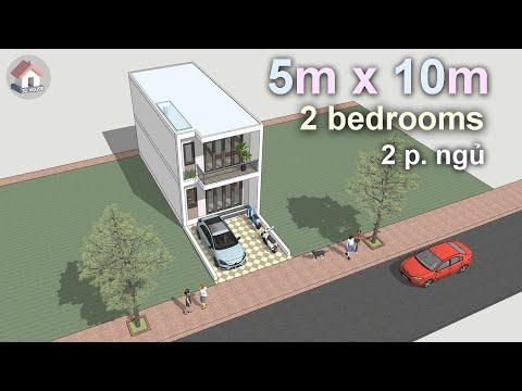 Mẫu nhà ống 2 tầng thiết kế đẹp 5 x 10m ● Two Storey House Design 5m x 10m, 2 bedrooms