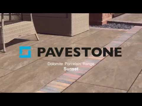 Video of 1000mm x 500mm Dolomite Sunset Porcelain Paving 32 Pieces
