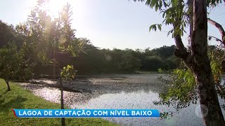 Nível baixo da lagoa de captação do rio Batalha em Bauru preocupa