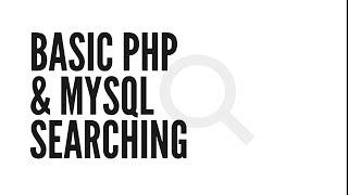 Basic PHP&MySQL Searching