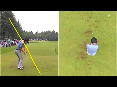 【石川遼】ゴルフスイング動画 後方アングル「アイアンでピン寄 …