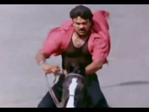 Alluda Majaka Movie Scenes - Mega Star Chiranjeevi horse ride - Ramya Krishna, Ramba
