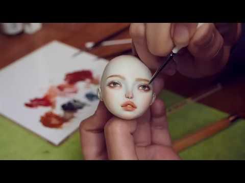 Porcelain doll makeup with China Paint -Manu 1st  face up