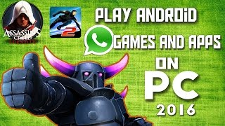 "ANDROID ON PCMEMU is an android emulator for pc. this is best emulator for pc out there......AND best performance and best controlling and you can increase ram and change model no. AND resolution and DPIi and many more google play works like charm....I was played latest games like ""VECTOR 2"" and ASSASSINS CREED IDENTITY FOR ANDROID""(sorry about im not able to upload these game plays because my system graphic card problem that y  while i recording some frame drops....:-(..MEMU OFFICIAL: www.memuplay.comMEMU SIZE: 277 MB(JUST) WINDOWS subscribe:   https://www.youtube.com/channel/UCK1uFaP4blH6GNdHysjnDnAgoogle+:     https://plus.google.com/u/1/114801561496404145726facebook:    https://www.facebook.com/designs131TWITTER :    https://twitter.com/surydesignsTHANKS FOR WATCHING LIKE AND SUBSCRIBE...*SDESIGNS*"
