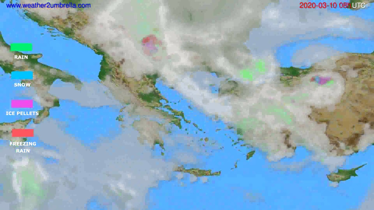 Precipitation forecast Greece // modelrun: 12h UTC 2020-03-09