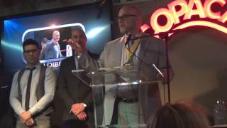 Lou DiBella wins James A. Farley Award For Honesty & Integrity, Boxing Writers Association of America dinner, June 2016.