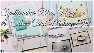 Spellbinders Blue, Navy & Silver Card Making Kit. Spellbinders December Card Kit. I killed another kit y'all! I can't begin to tell you how much fun I'm having creating all these beautiful handmade cards with these Spellbinders Card Kits! Spellbinders make it soooo easy to create BEAUTIFUL and ELEGANT hand made greeting cards. They supply you with everything! Even the adhesives! If you would like to get your hands on your very own Spellbinders Card Making Kit, click on this link: http://shrsl.com/?ilfo#Spellbinders #NeverStopMaking