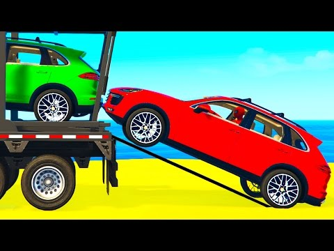 COLOR SUV CARS Transportation for Kids in Spiderman Cartoon w Colors for Toddlers Nursery Rhymes
