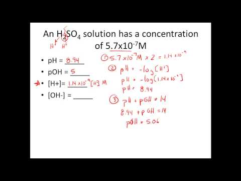 Given [H+] or [OH-], Calculate pH & pOH (видео)