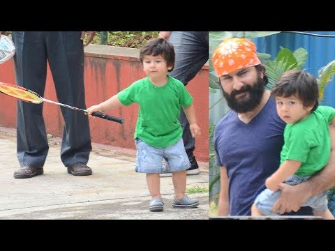 Taimur Ali Khan Playing Badminton With Dad Saif Al