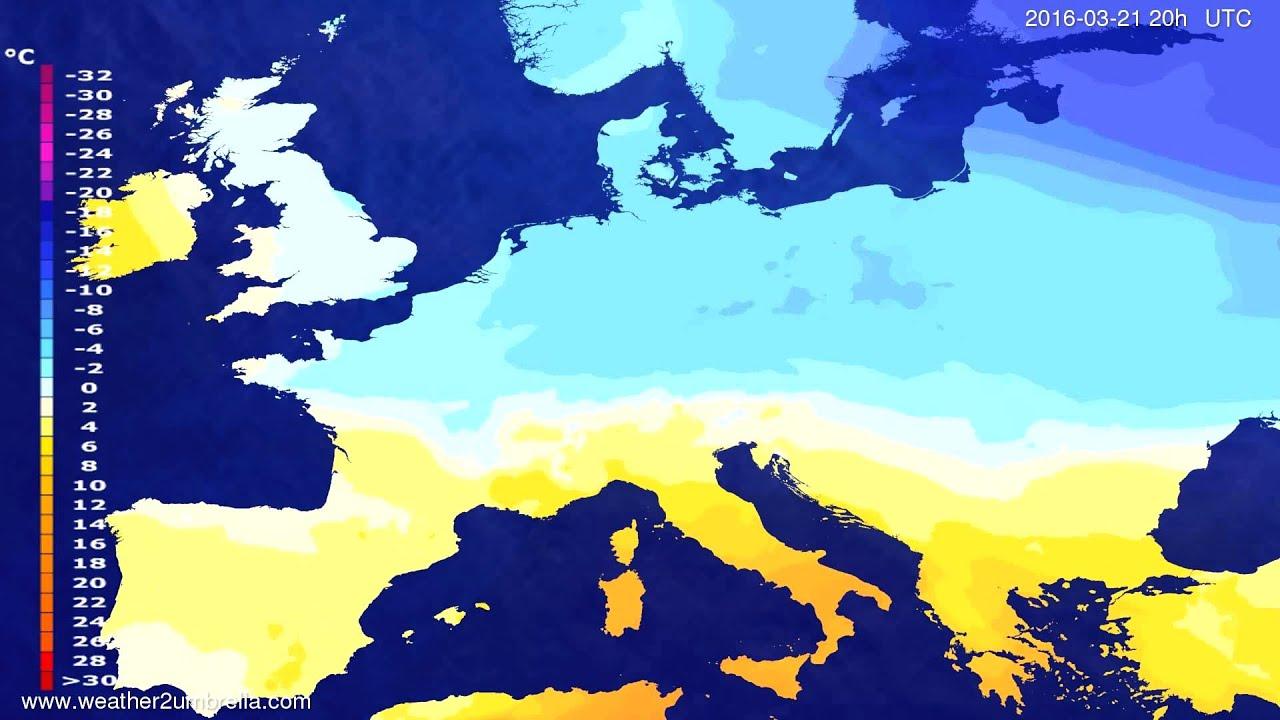Temperature forecast Europe 2016-03-19