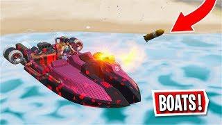 *New* Fortnite Motorboat Gameplay! (Rockets/Damage/Land & Water)