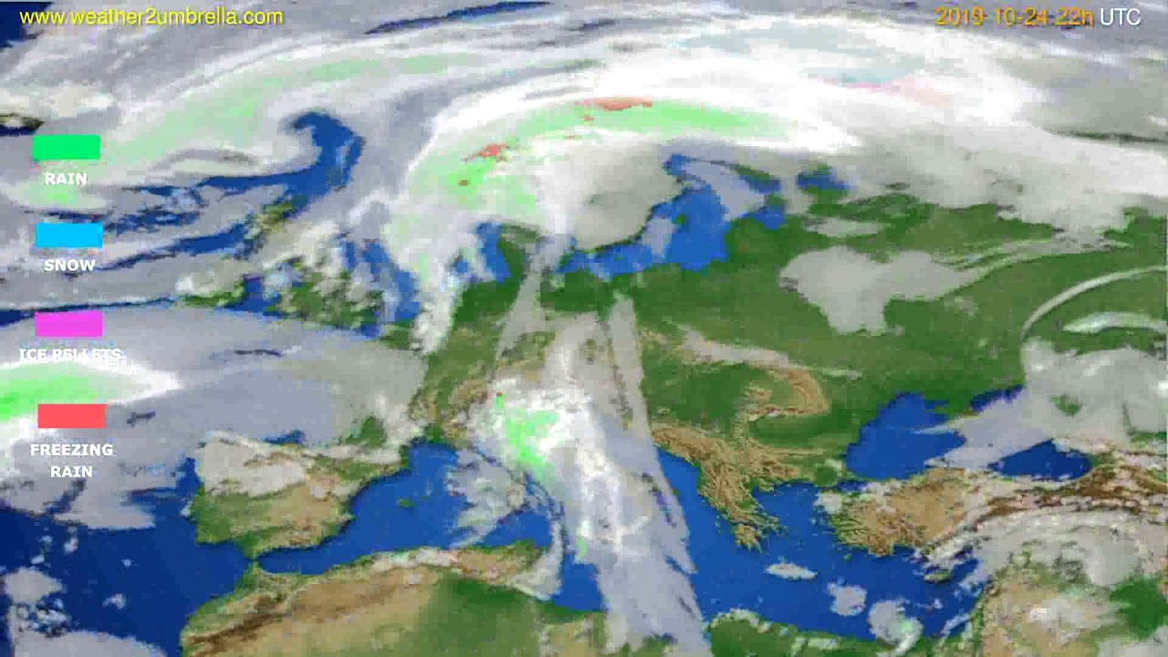 Precipitation forecast Europe // modelrun: 00h UTC 2019-10-22