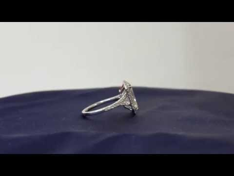 5.44 Carat D/SI1 Radiant 18K White Gold Halo Ring Engagement Diamonds Certified