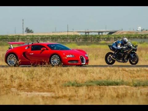 2015 kawasaki h2r vs bugatti veyron supercar - 1/2 mile