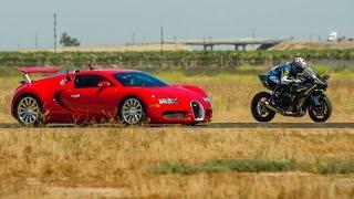 7. Kawasaki H2R vs Bugatti Veyron Supercar - 1/2 Mile Airstrip Race 2