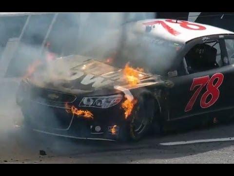 Car of NASCAR's Kurt Busch catches fire at Martinsville