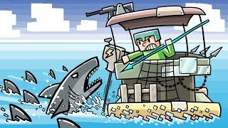 Minecraft - STRANDED WITH GREAT WHITE SHARKS! (Shark Swarm vs Raft Fort)