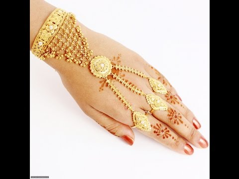 GOLD BRACELETS WITH RING FOR WEDDING, GOLD JEWELLERY COLLECTION