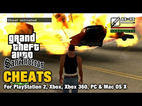 cheats - This video shows all the cheats available for Grand Theft Auto San Andreas Cheats do not prevent obtaining 100% of game statistics but they will decrease you...