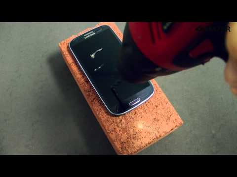 Amzer® ShatterProof Screen Protector Galaxy S 3 Drill Test