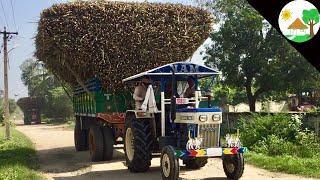 Heavy load sugarcane first time swaraj 744 fe / Swaraj 744 Tractor sugar cane load / Come to village
