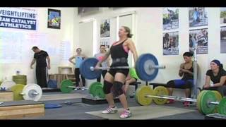 Daily Training 11-7-12 - Weightlifting training footage of Catalyst weightlifters. Jolie snatch, Chyna snatch, Tamara snatch, Alyssa snatch, Aimee snatch, Steve snatch, Audra snatch, Chelsea snatch, Tate snatch.