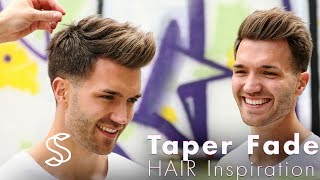 Men's hair inspiration: In this tutorial we show you how to get a Taper fade and texture Barber haircut★ Shop online! http://www.SlikhaarShop.com ★Follow, like, share and more: ⇨ Subscribe! http://bit.ly/SlikhaarTV⇨ Snapchat: SlikhaarTV⇨ Facebook: https://www.facebook.com/SlikhaarTVGroup⇨ Instagram: https://www.instagram.com/slikhaartv/⇨ Blog: http://www.slikhaarshop.com/news ⇨ Newsletter: http://eepurl.com/B6MqjHAIRCUT MEASUREMENTSSides: 0,5-2cmBackhead: 0,5-2cmFringe / top front: 6-8cmTop back:  4-6 cmPlease let us know what other videos you'd like us to make.PRODUCTS USED☆ By Vilain SKYLINEhttps://www.slikhaarshop.com/catalogsearch/result/?q=skyline☆ By Vilain FREESTYLERhttps://www.slikhaarshop.com/catalogsearch/result/?q=freestyler☆ By Vilain SIDEKICKhttps://www.slikhaarshop.com/catalogsearch/result/?q=sidekickn GOLD DIGGERhttps://www.slikhaarshop.com/catalogsearch/result/?q=Gold+diggerMusic by: Ryan Tennison - Faint (Extended)SoundCloud:https://soundcloud.com/ryantennison/ryan-tennison-faint-radio-mix-spotify: https://open.spotify.com/album/1MsImXwhwXKTIDRnZdtApWiTunes: https://itunes.apple.com/us/album/faint/id1233453068?i=1233453104Location: Slikhaar Studio - Mejlgade 37 - Aarhus C -DemarkHairdresser: CsobanBest regardsEmil & Rasmus Vilain AlbrechtsenSLIKHAAR TV TEAMSend all requests to: info@slikhaarshop.com♥ Slikhaar TV is a hairstyling channel for men founded by the twin brothers Emil & Rasmus. We give you new hairstyle inspiration every week: Tutorials, how-to videos, celebrity and footballer hairstyles, and professional tips to optimize your hair and overall style.