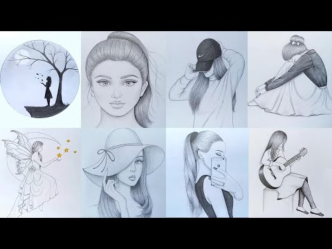 8 easy girl drawing ideas  ( part -1 ) ||  Pencil sketch Tutorials || Art Videos