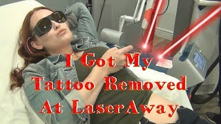 "In this video I show you the process of getting my laser removal of my tattoo at LaserAway! It was so much faster, easier, and less painful than I could have ever imagined, and I'm so happy with the results. While I still loved my tattoo, my body rejected it, and it got weird...real weird, so I'm thrilled to now be rid of it!Check out LaserAway here:https://www.laseraway.com/https://www.instagram.com/laseraway/Music ""Accidents Will Happen"" by Silent Partner. YouTube Audio Library, fair use under creative commons license.♥♥♥♥♥♥♥♥♥♥♥♥♥♥♥♥♥♥♥♥♥♥♥♥♥♥♥♥♥♥♥♥♥♥♥♥♥♥♥♥♥♥♥♥Follow Katrinaosity...On Etsy ♥ http://www.etsy.com/shop/katrinaosityOn Facebook ♥ https://www.facebook.com/pages/Katrinaosity/166748913427585On Tumblr ♥ http://katrinaosity.tumblr.com/On Twitter ♥ https://twitter.com/KatrinaosityOn Pinterest ♥ http://pinterest.com/katrinaosity/On Polyvore ♥ http://www.polyvore.com/katrinaosity/♥♥♥♥♥♥♥♥♥♥♥♥♥♥♥♥♥♥♥♥♥♥♥♥♥♥♥♥♥♥♥♥♥♥♥♥♥♥♥♥♥♥♥♥♥Mail:Katrina SherwoodPO Box 1126 Culver City, CA90232Hi, I'm Kat, and I make lots of DIY videos, about everything from DIY jewelry, home decor, gifts, and crafts, to Gluten Free recipes, No-poo hair care, DIY hair extensions, how to make sugaring wax and arabic wax for natural hair removal, and how to make a bracelet out of a toothbrush. Here you can watch videos about friendship bracelets, whitening your teeth with activated charcoal, or even skip on over to my second channel for Story Time videos and vlogs!Shiny, Pretty Things!"