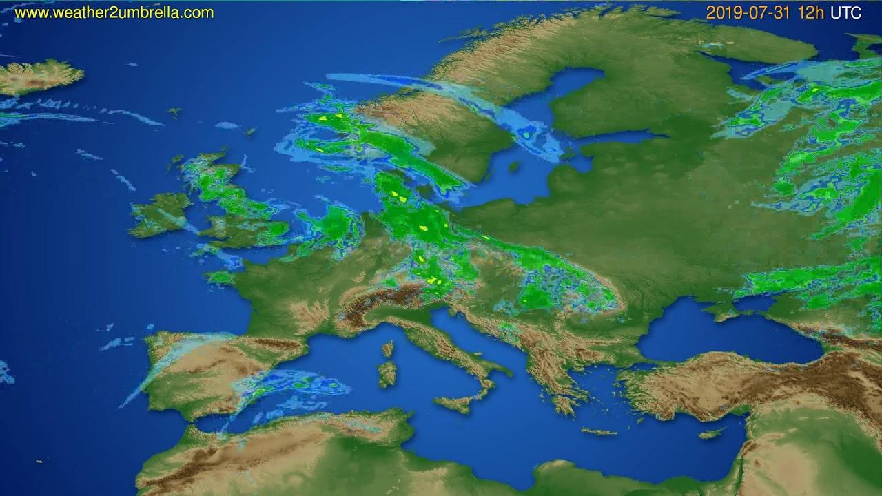 Radar forecast Europe // modelrun: 00h UTC 2019-07-31
