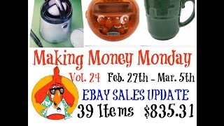 EBAY Weekly Sales UPDATE for Feb 27th - Mar 5th Sold 39 items for $895.31 Sold a variety of items this week. Sales were up from the past 2 weeks. I also adde...