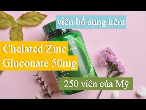 Viên Uống Bổ Sung Kẽm Chelated Zinc Gluconate 50mg 250 Viên-Thuốc bổ sung Kẽm Chelated ZinC của Mỹ