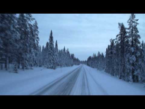 Äkäslompolo - busdriving to äkäslompolo, finland in december.