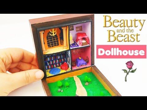HOW TO MAKE MINIATURE DOLLHOUSE Beauty & Beast doll crafts diy tutorial