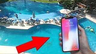 TIRO MI iPHONE X DESDE 10 METROS DE ALTURA!! CAERÁ EN LA PISCINA!? SALE MUY MAL...