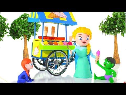 FROZEN ELSA HAS AN ICE CREAM PARLOR ❤ Spiderman, Hulk & Frozen Elsa Play Doh Cartoons For Kids