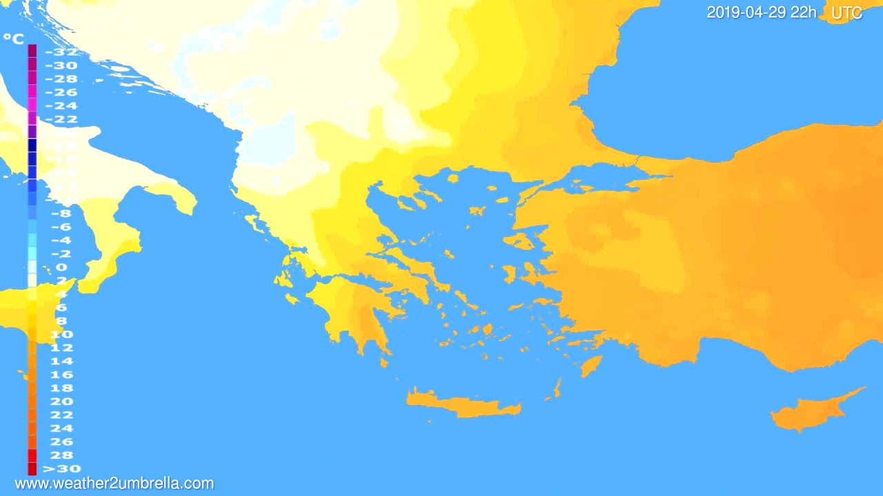 Temperature forecast Greece // modelrun: 12h UTC 2019-04-27