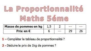 Maths 5ème - La proportionnalité Exercice 19