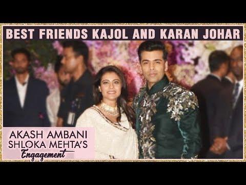 Karan Johar With Kajol At Akash Ambani And Shloka