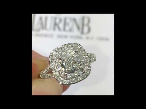 .90 carat Cushion Cut Diamond Engagement Ring in Double Halo