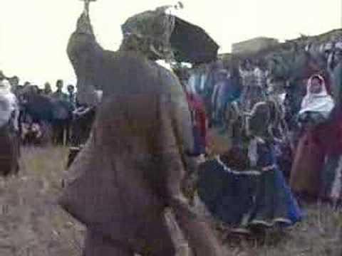 Ritual duel between a shaman and a spirit figure