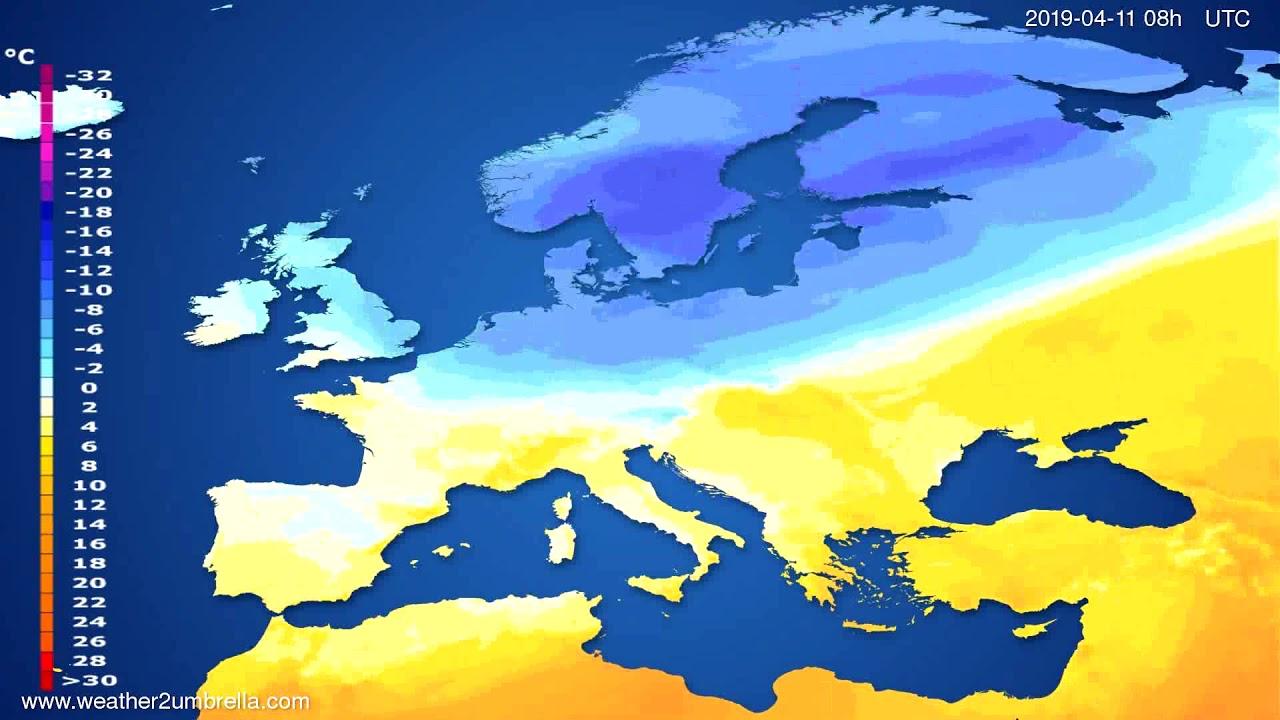 Temperature forecast Europe // modelrun: 00h UTC 2019-04-09