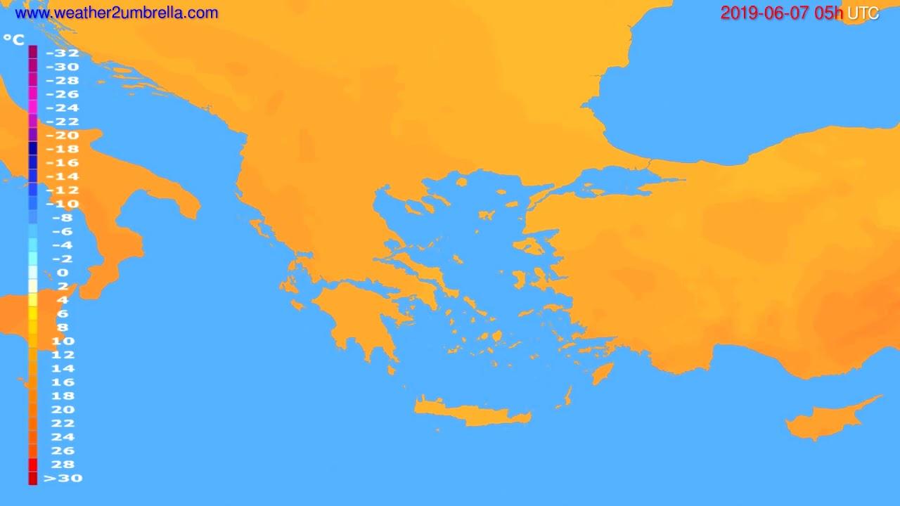 Temperature forecast Greece // modelrun: 00h UTC 2019-06-05