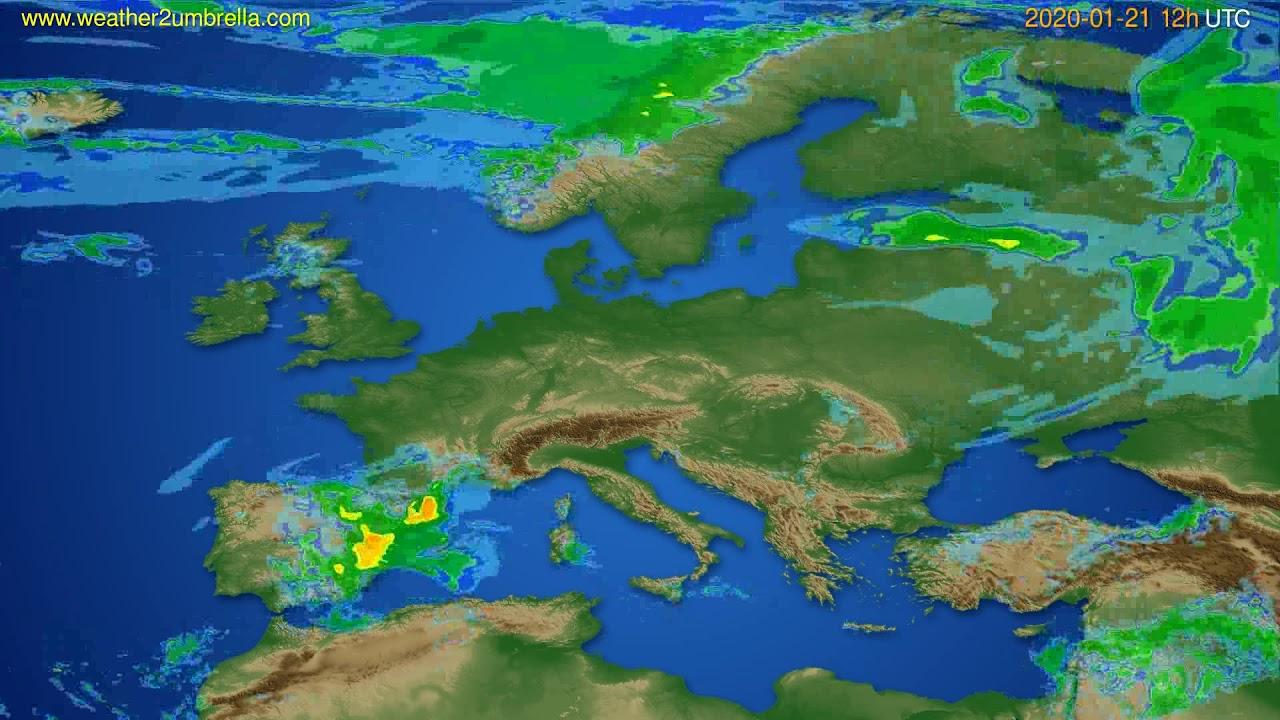 Radar forecast Europe // modelrun: 00h UTC 2020-01-21
