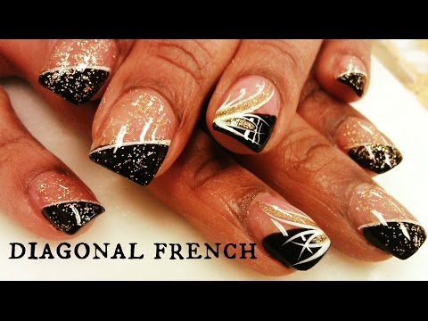 nail art con french diagonale
