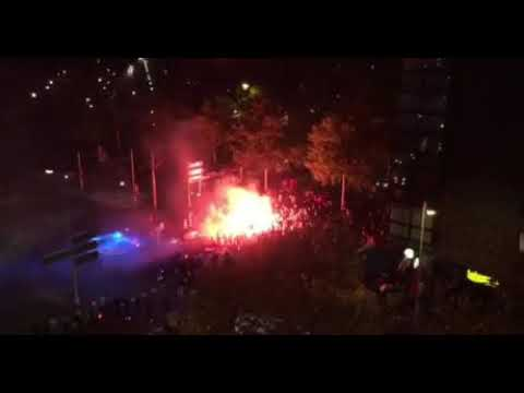 Croatian fans celebrating after winning against England in FIFA World Cup Semi Final