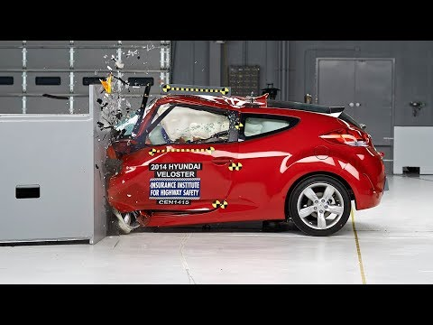small - 2014 Hyundai Veloster 40 mph small overlap IIHS crash test Overall evaluation: Marginal Full rating at http://www.iihs.org/iihs/ratings/vehicle/v/hyundai/veloster/2014.
